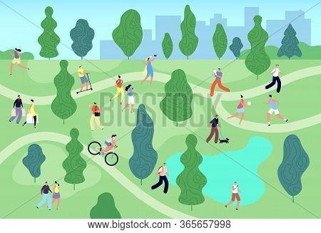 People In Summer Park. City Green Garden. Men Women Walking, Relaxing And Training, Meeting, Fishing