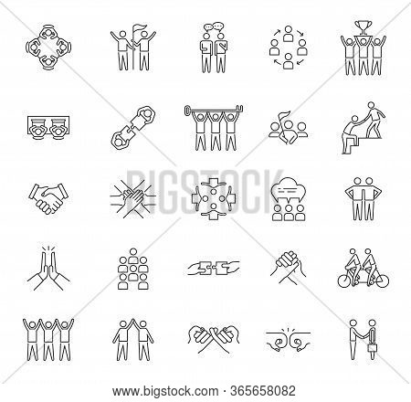 Teamwork Icons. Business Industry, Human Resource And Communication. Tech Innovation, Company Unity