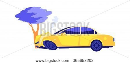 Car Crash. Auto Crashed Into Tree. Automobile Smoke, Accident On Nature. Broken Transport Vector Ill