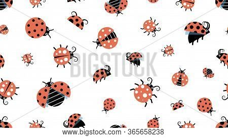 Cartoon Ladybugs. Insect Pattern, Forest Wildlife. Beetles Background, Children Texture Vector Seaml