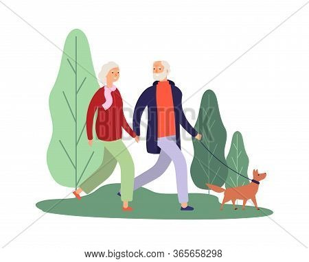 Dog Owners. Elderly Couple Walking With Puppy. Healthcare Therapy, Breathe Fresh Air. Old People Wal