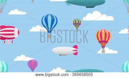 Hot Air Balloons. Cartoon Air Transport Pattern. Balloon Airship In Cloudy Sky Vector Seamless Textu