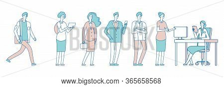 Long Queue People. Men Women In Social Institution, Waiting For Secretary. Administrator, Accepting