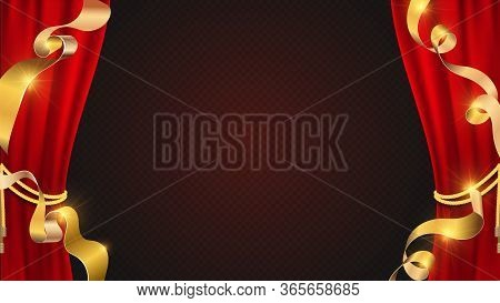 Realistic Red Curtains. Golden Ribbons And Theater Curtain. Banner With Festive Elements And Transpa