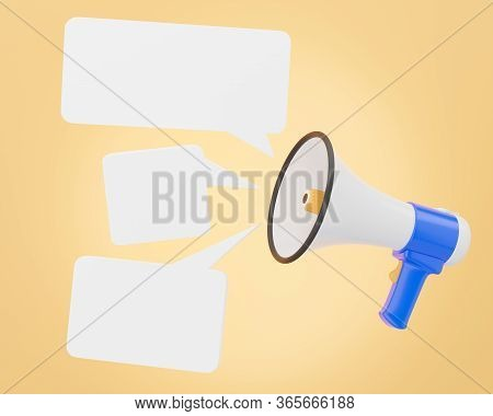 The Megaphone Is Voicing Notification Sound And Appears As An Empty Message Box For Advertising Bull