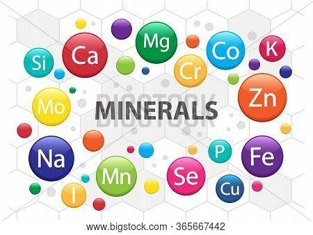 Mineral Supplement Set. 3d Multivitamin Complex For Health. Vitamin Icons. Calcium Magnesium Zinc Ir