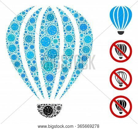 Collage Aerostat United From Covid-2019 Virus Icons In Different Sizes And Color Hues. Vector Viral
