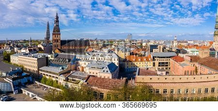 Cityscape Aerial Panoramic View On The Old Town Of Riga With Dome Cathedral And Beautiful City View