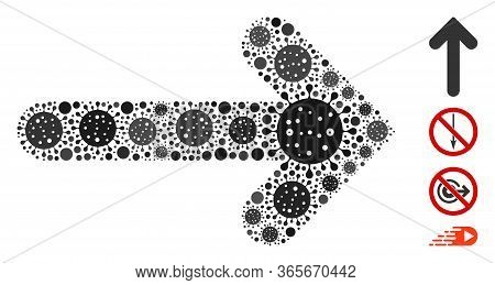 Mosaic Arrow Direction Constructed From Flu Virus Icons In Various Sizes And Color Hues. Vector Path