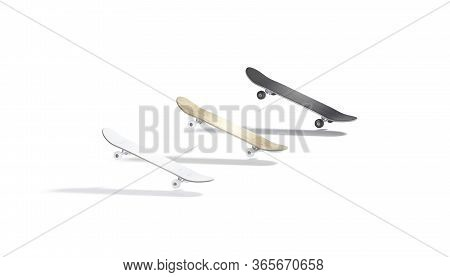 Blank Black, White And Wood Skateboard Mockup, No Gravity, 3d Rendering. Empty Trundle Board For Act
