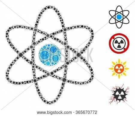 Mosaic Atom Organized From Coronavirus Elements In Variable Sizes And Color Hues. Vector Infection E