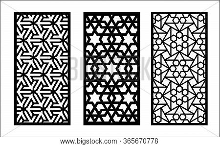 Lazer Islamic Pattern. Set Of Decorative Vector Panels For Lazer Cutting. Template For Interior Part