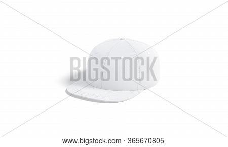 Blank White Jeans Snapback Mockup, Hulf-turned View, 3d Rendering. Empty Casual Denim Head Wear Mock