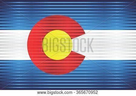 Shiny Grunge Flag Of The Colorado - Illustration,  Three Dimensional Flag Of Colorado