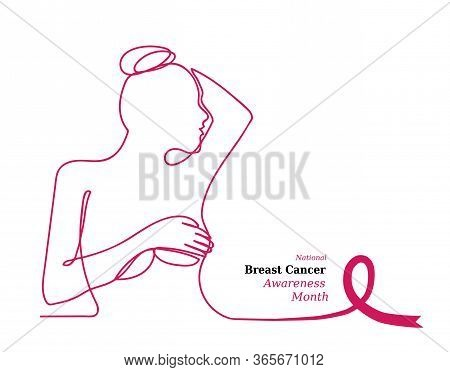 Pink Ribbon, Womens Breast Outline Vector Illustration. One Line Drawing Concept, Woman In Profile.