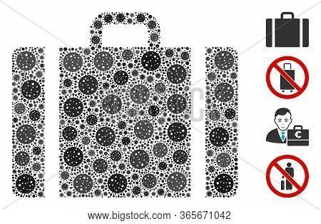Collage Baggage United From Flu Virus Icons In Various Sizes And Color Hues. Vector Infection Parts
