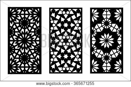 Morocco Laser Cut Pattern. Set Of Decorative Vector Panels, Screens For Laser Cutting. Template For