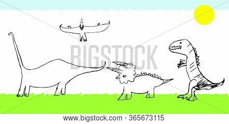 Set Of Dinosaurs Pterodactyl, Tyrannosaurus, Triceratops, Diplodocus On The Lawn Under The Sun. Vect