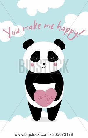 Love Card With Panda You Make Me Happy