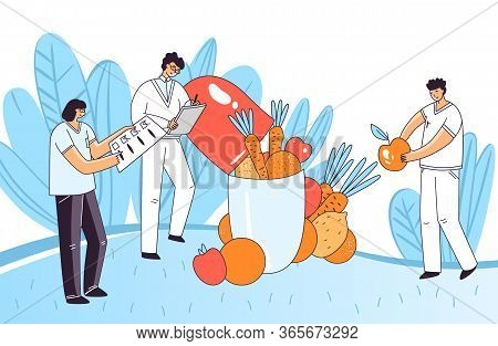 Vector Flat Illustration Of Man, Woman Characters Checking Up Medical Drug, Pill, Capsule For Human