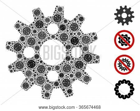 Collage Cogwheel Constructed From Coronavirus Elements In Different Sizes And Color Hues. Vector Inf