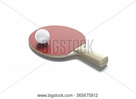 Blank Red Wood Table Tennis Racket With Ball Mockup, Isolated, 3d Rendering. Empty Sporty Texture De