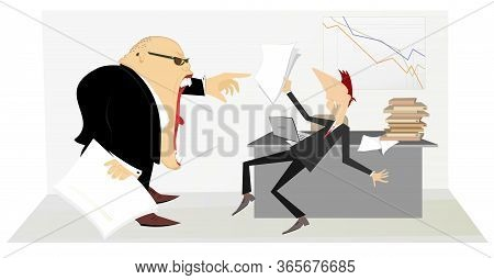 Angry Boss And Employee Man Illustration. Angry Chief Scolds His Employee Man And Points Her Get Out
