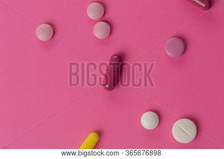 Different Medications. Various Pill And Capsules. One-color Backdrop.