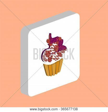 Sweet Cupcake Simple Vector Icon. Illustration Symbol Design Template For Web Mobile Ui Element. Per