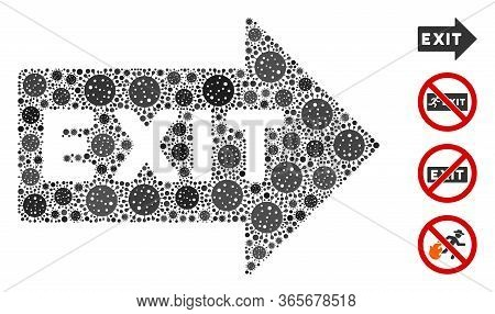 Mosaic Exit Arrow Organized From Coronavirus Icons In Random Sizes And Color Hues. Vector Infection
