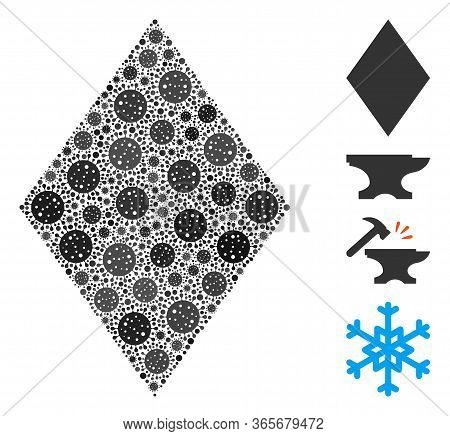 Mosaic Filled Rhombus United From Covid-2019 Virus Items In Different Sizes And Color Hues. Vector V