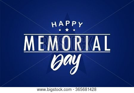 Type Lettering Composition Of Happy Memorial Day With Stars On Blue Background