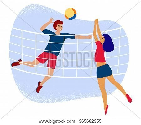 Man And Woman Plays Volleyball Through Net. Flat Vector Stock Illustration With Couple Volley Player