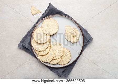 Healthy Snack From Free From Gluten And Free From Milk Crackers On Light Background. Tapioca, Maize