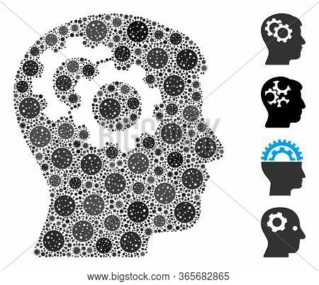 Collage Intellect Gears Constructed From Coronavirus Items In Random Sizes And Color Hues. Vector Pa