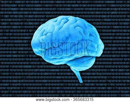 Digital Brain System, Decoder Binary Code Background. Blue Abstract Security Technology 3d Rendering