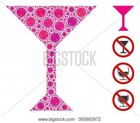 Mosaic Martini Glass United From Coronavirus Icons In Different Sizes And Color Hues. Vector Viral I