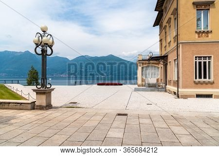 View Of Verbania Palace On The Coast Of Lake Maggiore, Luino, Lombardy, Italy