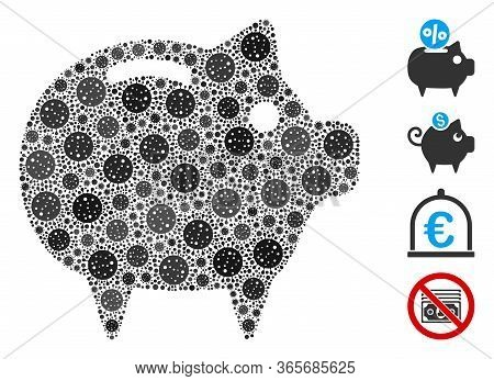 Mosaic Piggy Bank Designed From Coronavirus Icons In Random Sizes And Color Hues. Vector Pathogen Ic