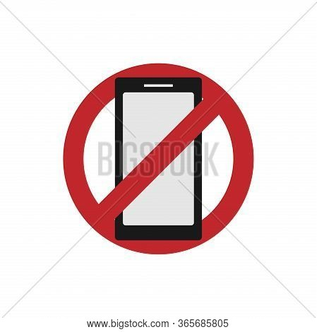 Vector Illustration Of A Banner Or Sticker Without A Mobile Phone. The Concept Of Digital Detoxifica