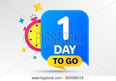 Countdown Left Days Banner With Timer. One Day Left Icon. 1 Day To Go Sign. Sale Announcement Banner