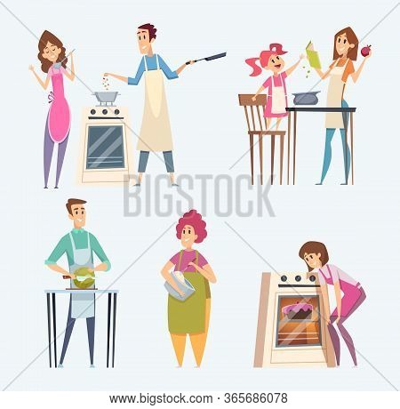 People Cooking. Couples Family Preparing Food At The Kitchen Serving Dinner Vector Characters Cartoo