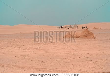 Destroyed Berber Buildings In The Northern Sahara Desert, Tunisia. Berbers, Or Amazighs, Are An Ethn