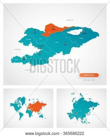 Editable Template Of Map Of Kyrgyzstan With Marks. Kyrgyzstan On World Map And On Asia Map.