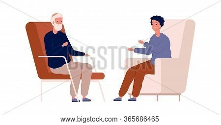 Boy And Grandfather. Family Talking, Have Conversation. Psychotherapy, Teenager Problems. Elderly Me