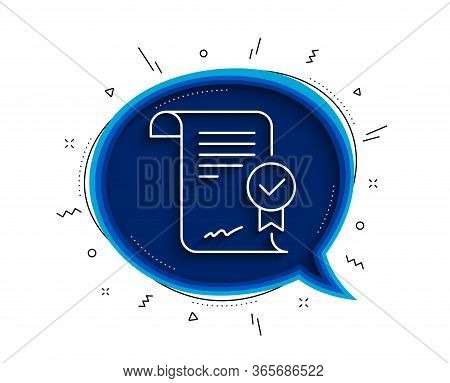 Approved Agreement Line Icon. Chat Bubble With Shadow. Verified Document Sign. Accepted Or Confirmed