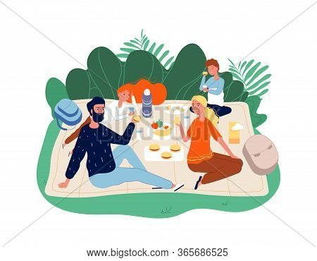 Happy Family Time. Parents And Kids On Picnic. Adults, Children Eating And Talking. Cool Weekend, Bb