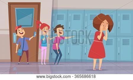 Bullying In School. Stressed Kids Laughs Scare Conflict Problems In School Corridor Vector Cartoon B