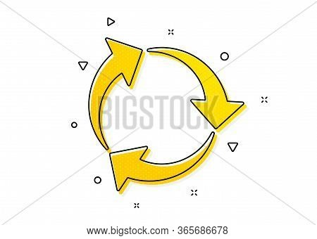 Recycling Waste Symbol. Recycle Arrow Icon. Reduce And Reuse Sign. Yellow Circles Pattern. Classic R
