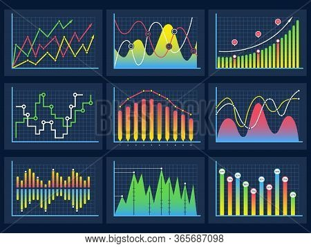Line Charts. Modern Infographic Set Diagrams Curves Development Graphs Histogram Info Vector Set. Il